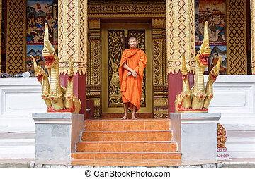 Young Buddhist Monk Standing In Front Of Monastery - Young...