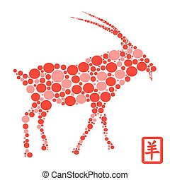 Chinese goat Year with red Dots