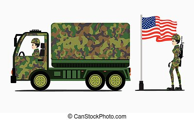 Military Trucks - Military truck with a flag and a superb...