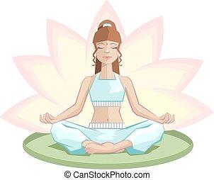 Yoga. Beautiful girl meditating