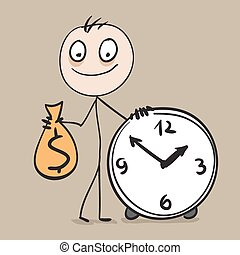 Time is money. Man holding bag of money and hours. Vector...