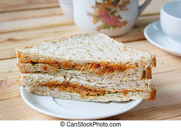 Sandwich - sandwich with shredded pork and thai chili paste...