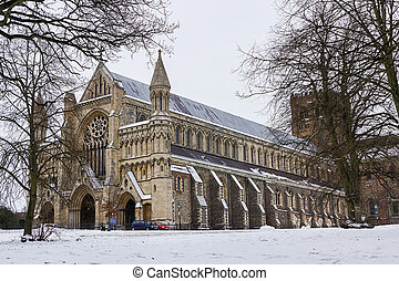 Cathedral and Abbey Church in St.Albans, UK - Cathedral and...