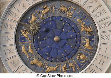 zodiaque, horloge, dans, venise,