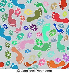 Seamless pattern of colorful funny human foot prints and dog paws.