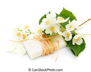 Jasmine soap - Nice aroma Jasmine soap on a white background