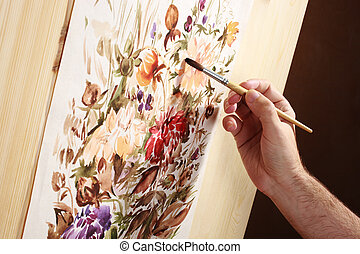 watercolor painter - painting hand with soft brush,...