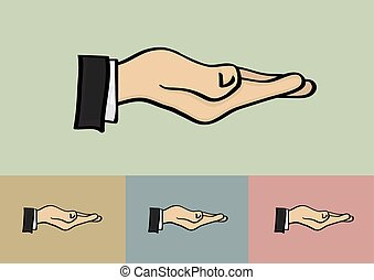 Receiving Hand Gesture Isolated on Different Background -...
