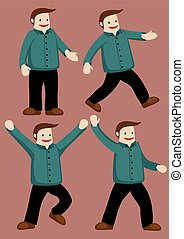 Chubby Hubby Happy Dance - Set of four vector illustration...