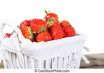 Strawberries - Fresh juicy aroma strawberries on wooden...