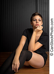 Young Female With Subdued Expression - Young Female Standing...
