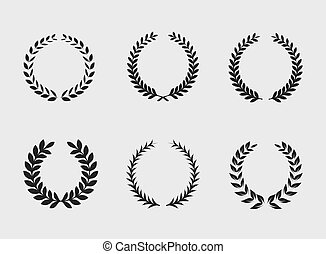 Heraldic ornament on white background. Set of black and...