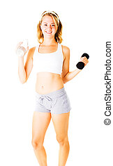 Young Woman Working Out On White - Young woman working out...
