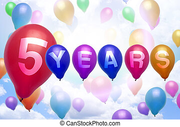 5 years happy birthday balloon colorful balloons