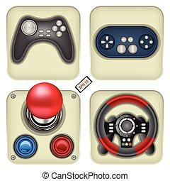 gamepad icons - Set of four detailed and realistic gamepad...