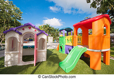 colorful playground for kid, garden