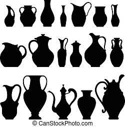 Vector silhouettes of vases Isolated on white crockery
