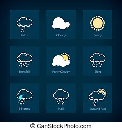 Set of weather symbols, vector illustration - Set of weather...
