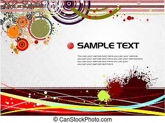 Grunge hi-tech background Vector colored fine illustration