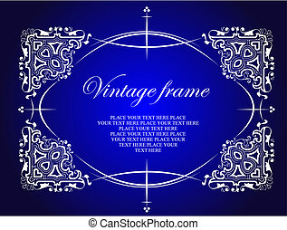 Vintage frame. Floral vector colored illustration. Wedding Invitation