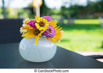 Vase flowers - Vase with colorful Zinnias