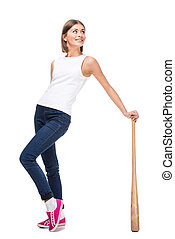 Sport - Young woman with wooden baseball bat, isolated on...