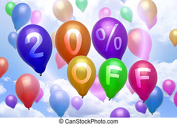 20 percent off discount balloon colorful balloons party