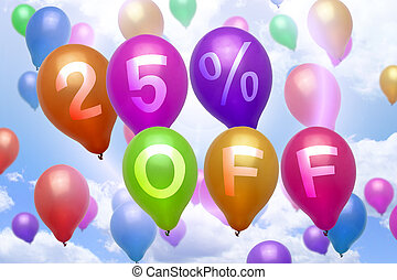 25 percent off discount balloon colorful balloons party