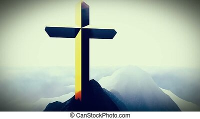 Christian Cross on a mountain - The Christian Cross on a...