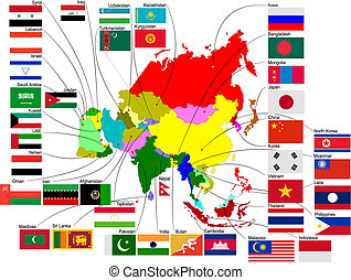 Map of Asia with country flags Vector illustration