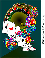 Casino elements. Roulette. Black Jack. Vector illustration