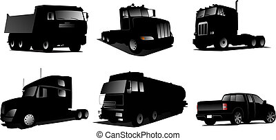 Six Vector illustration of trucks. Design elements