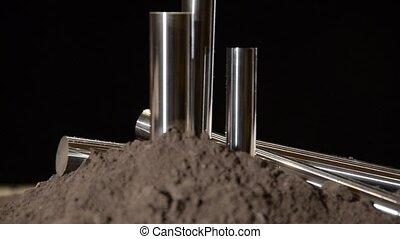 steel bars rotating - industrial details, steel bars...