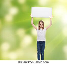 わずかしか, 白, 板, 保有物, ブランク, 微笑, 女の子