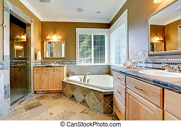 Luxury bathroom interior with corner bath tub - Luxury...