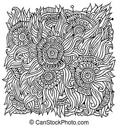 floral ornamental doodles vector background - Abstract...