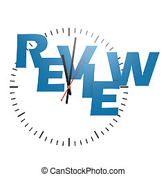 Review word with clock image with hi-res rendered artwork...