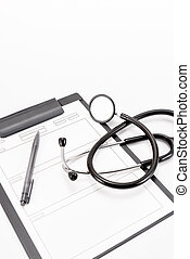 Stethoscope and medical records. - Stethoscope of medical...