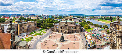 Panoramic view of Dresden, Germany Semper Opera House