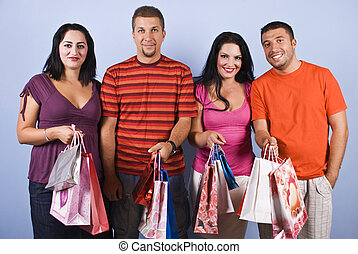 People friends with shopping bags