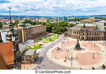 Semper Opera House in Dresden - Panoramic view of Dresden,...
