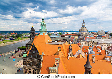 Dresden and Frauenkirche church - Panoramic and aerial view...