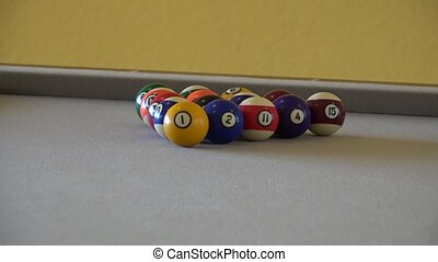 HD clip of a billiard ball triangle