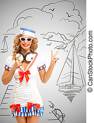 Yacht club. - Retro photo of a fashionable pin-up sailor...