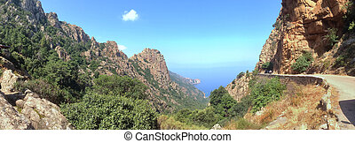 Corsica panoramic view - Panoramic landscape of a road along...