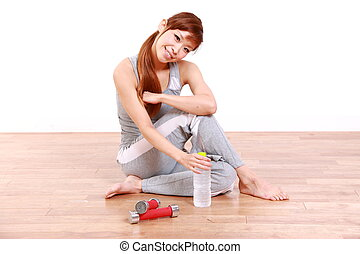 woman resting after work out