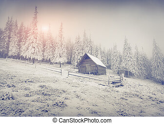 Old farm in the mountains