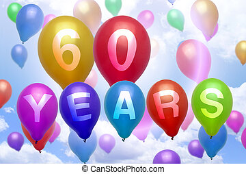 60 years happy birthday balloon colorful balloons party