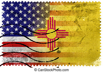 USA and New Mexico State Flag - old postage stamp