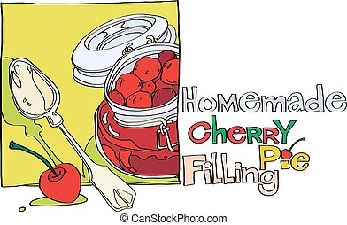homemade cherry pie filling and a teaspoon vector...